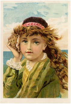 A beautiful Vintage Clip Art Freebie Image showing a Girl listening to a Seashell. From The Graphics Fairy Blog.