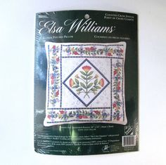 Flower Patches Counted Cross Stitch Pillow Kit Elsa Williams #02151 New 14 x 14 #ElsaWilliams #PillowCover
