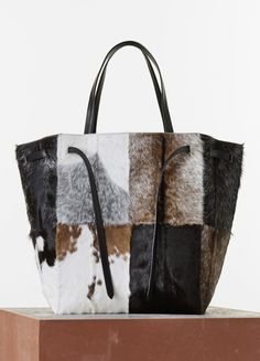 Phantom Large Tote with Belt Fur Goat Natural