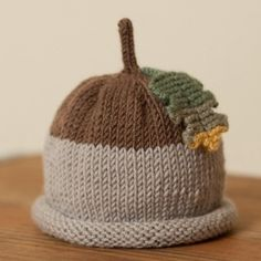 Acorn baby hat - Knitted baby hats - fruit & veg hats - Little Knitwitz Baby Hats Knitting, Knitting For Kids, Loom Knitting, Knit Hats, Yarn Projects, Knitting Projects, Crochet Projects, Crochet Baby, Knit Crochet