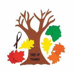 """Tree Of Thanks"" Craft Kit. This is a fun Thanksgiving activity! 12 All craft kit pieces are pre-packaged for individual use. Leaf Projects, Craft Projects For Kids, Craft Kits, Diy For Kids, Kids Crafts, Craft Ideas, Thanksgiving Place Cards, Thanksgiving Activities, Thanksgiving Crafts"