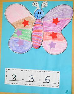 Ricca's Kindergarten: More Addition Fun!Butterfly co-operative addition mat and activity Kindergarten Crafts, Preschool Math, Teaching Math, Maths, Teaching Ideas, Creative Teaching, Fun Math, Math Games, Math Activities