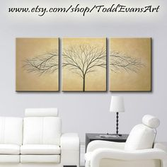 48 inches Original, 3 Piece Wall art, set Large Canvas Brown, light brown Trees set of 3 tree Painting Wall Decor Triptych, by ToddEvansArt, $90.00