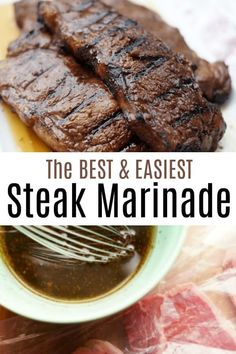 This easy marinade takes seconds to whip together and you will definitely agree that is the best steak marinade ever! With simple ingredients that you already have in your pantry, including Worcestershire Sauce, Soy Sauce and Garlic, its bold flavors, Steak Marinade For Grilling, Steak Marinade Recipes, Grilled Steak Recipes, Marinated Steak, How To Grill Steak, Simple Steak Marinade, Homemade Steak Marinade, Marinade For Skirt Steak, How To Marinate Steak