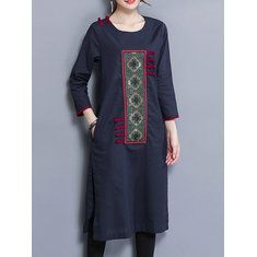 Hot saleVintage Embroidered Splited Long Sleeve O-neck Women Maxi Dresses Cheap - NewChic Mobile
