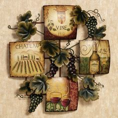 Grapes And Wine Kitchen Decor Utility Knife 128 Best Grape Images Ideas Fruit Of The Harvest Metal Wall Accent Theme