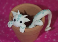 potted dragon #PolymerClay #DIY #paintedpottery