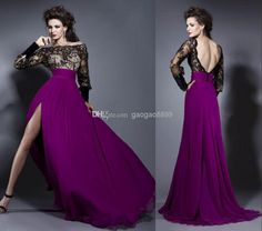 Discount 2014 New Bien Savvy Long Sleeve Backless Sexy Formal Evening Gowns High Slit Celebrity Red Carpet Party Prom Dresses 2013 Hot High Quality Online with $107.44/Piece | DHgate
