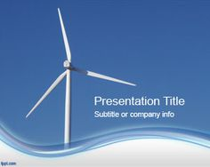 Wind Energy PowerPoint Template with blue background sky and wine turbines