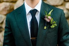 Non-traditional groom attire - dark green suit, black tie, gold clip, and flower boutonniere with gr Wedding Men, Wedding Groom, Wedding Suits, Wedding Attire, Wedding Ideas, Wedding Styles, Wedding Inspiration, Wedding Dresses, Green Tux