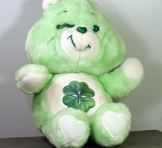"Good Luck Care Bear  Vintage 1980s 13"" stuffed animal from Tylerstoys"