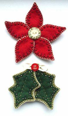 Poinsettia and holly leaf felt Christmas ornaments Felt Christmas Decorations, Felt Christmas Ornaments, Beaded Ornaments, Box Decorations, Christmas Poinsettia, Crochet Ornaments, Crochet Snowflakes, Diy Ornaments, Christmas Makes