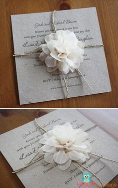 Recycled Paper Invitation with Flower-Recycled paper invitation, rustic invitation, rustic floral invitation, wedding invite, cream flower, brown kraft card #rusticwedding #weddinginvitation #brownpaperinvite #hootinvitations