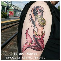 Traditional mermaid pinup for the most badass accountant of all time. By Mr Winter at American Ritual Tattoo and Wunderkammer Curiosity Shoppe Tacoma Wa