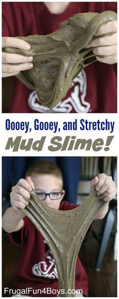 How to Make Oooey, Gooey, Stretchy Mud Slime - Super squishy sensory play idea! Add some plastic bugs, worms, and snakes for play. Camping Activities For Kids, Sensory Activities, Sensory Play, Preschool Activities, Sensory Bins, Sensory Table, Messy Play, Preschool Science, Preschool Learning