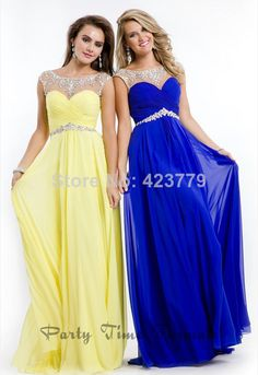 New Arrival Boat Neck Cap Sleeve Beaded Yellow Royal Blue Chiffon Plus Size Long Prom Dresses 2014 Custom Made $59.5