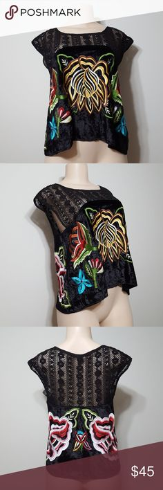 FREE PEOPLE VELVET EMBROIDERED TOP! FREE PEOPLE VELVET EMBROIDERED TOP! Beautifully made. Soft velvet with heavy colorful embroidered detail. Embroidered knit at top. Perfect condition and NEW! Boutique bought. Free People Tops Blouses