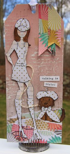 """Julie Nutting's Doll Stamp """"Jill"""" for Prima. I used Crate Papers """"Confetti"""" papers for my tag. #julienutting #prima @primamarketing @crate_paper"""