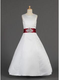 A-Line/Princess Floor-length Flower Girl Dress - Satin Sleeveless Scoop Neck With Lace/Sash/Beading