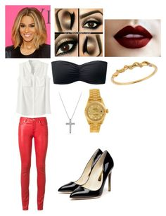 Ciara Inspired Outfit by jada20432-dc on Polyvore featuring Yves Saint Laurent, Uniqlo, Rupert Sanderson, David Yurman, Rolex, Lee Renee and Victoria's Secret