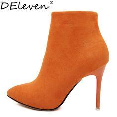 Sexy Femmes Bottes Solide Flock Suede Zip Bottes à talons hauts Dame  Stiletto bout Pointu Cheville Bottes Martin Boot Orange Bleu Rose Noir de  la boutique ... 2e462e03ec4d