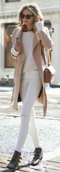 Fall Outfit Ideas: The neutral colour palette is perfect for transitioning into Fall. Via Jessica Stein  Coat: Asos, Top: Zara, Jeans: Topshop, Boots: Chloe, Bag: Proenza Schouler, Sunglasses: Celine