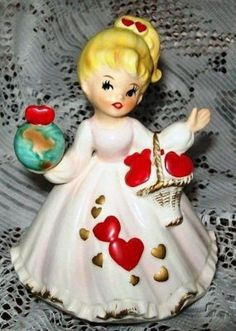 Lovely Valentine Girl/Lady Figural Music box world luv I have decided to sell off ALL of my Valentine's items, in the coming weeks. My Funny Valentine, Vintage Valentine Cards, Vintage Santas, Vintage Christmas, Glass Dolls, Flea Market Decorating, Usmc Quotes, Quotes Quotes, Valentine Decorations