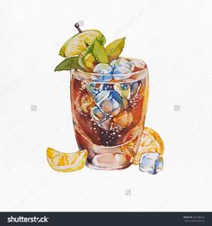 Whiskey Cola Cocktails. Watercolor Illustration On White Background. - 321506222 : Shutterstock
