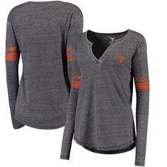 Women's Heathered Black Texas Longhorns Sidney Long Sleeve Henley Tri-Blend T-Shirt