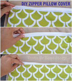 How to make a zipper pillow cover. Tutorial @ www.whatsurhomestory.com
