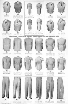 different vintage versions of menswear trousers jackets vests 1910s 1920s