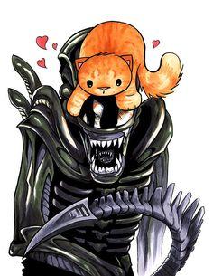 Alien Xenomorph Print 8.5x11 Sci fi Movie Jonesy Cat