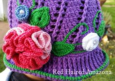 Russian little girls hat free english pattern crochet flower and crochet leaves Red Haired Amazona: Hat Frenzy!
