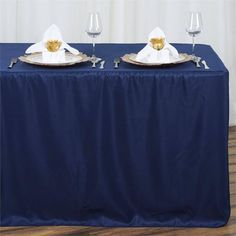 8FT Fitted NAVY BLUE Wholesale Polyester Table Cover Wedding Banquet Event Tablecloth /  Premium quality polyester tablecloths with perfect fitting are a perfect choice to accommodate all your indoor and outdoor table decorating needs. Transform your dreary and lackluster party tables and table covers into elegant tablescapes by swathing with these chic beauties. The top quality polyester material will not only spruce your Party tables up, but is sturdy and durable enough to withstand the…
