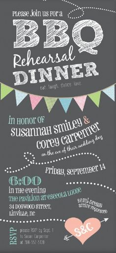 BBQ Rehearsal Dinner Invitation // sweetpressStudio, etsy.#wedding
