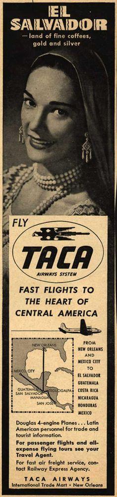 TACA Airways System's El Salvador – El Salvador -land of fine coffees, gold and silver (1948)
