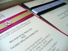 Faire part de mariage avec de jolis ruband et strass | pretty wedding cards with lovely ruband ans strass