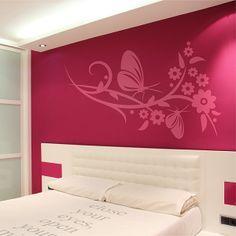 Vinilo decorativo especial cabecero de cama con motivo floral con mariposas. Masquevinilo.com