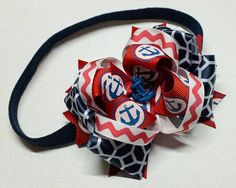 Nautical Boutique Hair Bow Headband for Little Baby Girl, Fourth of July Outfit, Sailor Anchor, Red, White and Navy Blue, Newborn Summer on Etsy, $7.95