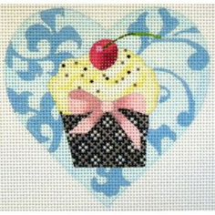 Mini Cupcake Blue by Kirk & Bradley Needlepoint Cupcake Cross Stitch, Cross Stitch Heart, Needlepoint Kits, Needlepoint Canvases, Free To Use Images, Plastic Canvas, Mini Cupcakes, Needlework, Tapestry