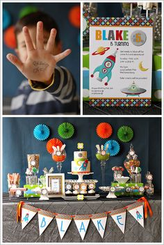 Inspiration for my sons banner- theme robots dinosaurs colors - red orange purple blue green
