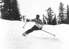 Stein Eriksen's characteristic reverse shoulder form.   This is how I learned to ski, met him several times in Aspen.