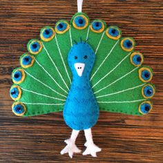 Peacock Felt Hand-Stitched Ornament by KJWcrafts on Etsy