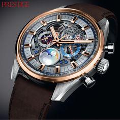 Prestige Magazine #Watches The @ZenithWatches Chronomaster El Primero Grande Date Full Open has a self-winding skeleton chronograph & a 45-mm case diameter.