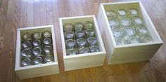 DIY wooden crates for storing canning jars Canning Jar Storage, Canned Food Storage, Canning Tips, Diy Wooden Crate, Wooden Crates, Wine Crates, Crate Storage, Crate Shelves, Tv Storage