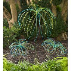 Beaded Glass Garden Stake | Garden Art | Plow & Hearth Glass Garden Art, Metal Garden Art, Glass Art, Garden Whimsy, Garden Deco, Garden Crafts, Garden Projects, Greenhouse Gardening, Garden Stakes
