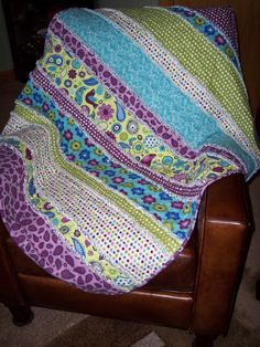 Purple, Turquoise & Green Baby Rag Quilt that I made