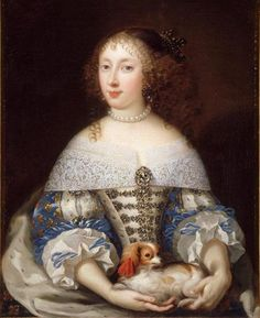 1650-1675 Henrietta of England (1644-1670), Duchess of Orléans, first wife of Philippe of France, Duke of Orléans, daughter of King Charles I. of England and Princess Henriette Marie of France by school of Pierre Mignard