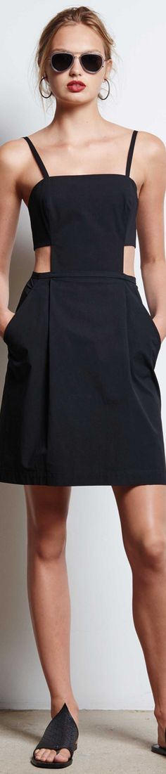 Tomas Maier Spring 2016 RTW black dress women fashion outfit clothing style apparel @roressclothes closet ideas