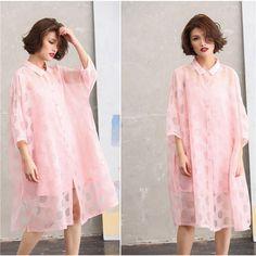 Women pink cotton shirt dress(with slip dress)